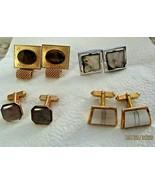 VTG  Mixed Lot of 4 Cuff Links Cufflinks Tigers Eye MOP Shell Gold Silver Tone - $49.49