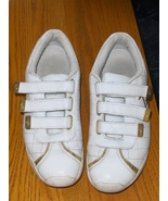 Baby Phat White Leather Tennis Shoes 9 Gold Tone Cat Detail Velcro Strap... - $14.99