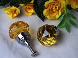 Lot of 6 Small Dark Amber Solid Crystal Glass Drawer Pull, Cabinet Knobs - $29.69