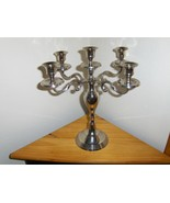4 Arm 5 Light Candelabra Silver Tone Beautiful ... - $39.99