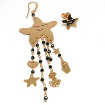 Drop Earrings 925 Silver, Starfish, Medusa, le Favole, Spinel Black image 2