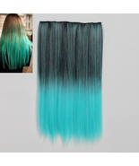 1Pcs 5 Clip In Ombre Black Blue Heat Resistant Synthetic Hair Extension - $39.99