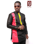 Men's African Fashion wear Kente Multicoloured Long Sleeve Shirt Men's C... - $59.99