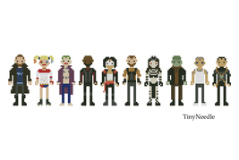 Cross Stitch Pattern Suicide Squad Line Up Characters - $5.00