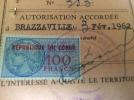 CONGO COLLECTIBLE 1960 IDENTIFICATION CARD WITH STAMP & SEAL - $9.45