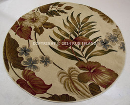 """5' Round (5'3"""")Tropical Coastal Beach Floral Palm Red Green Area Rug - $106.00"""