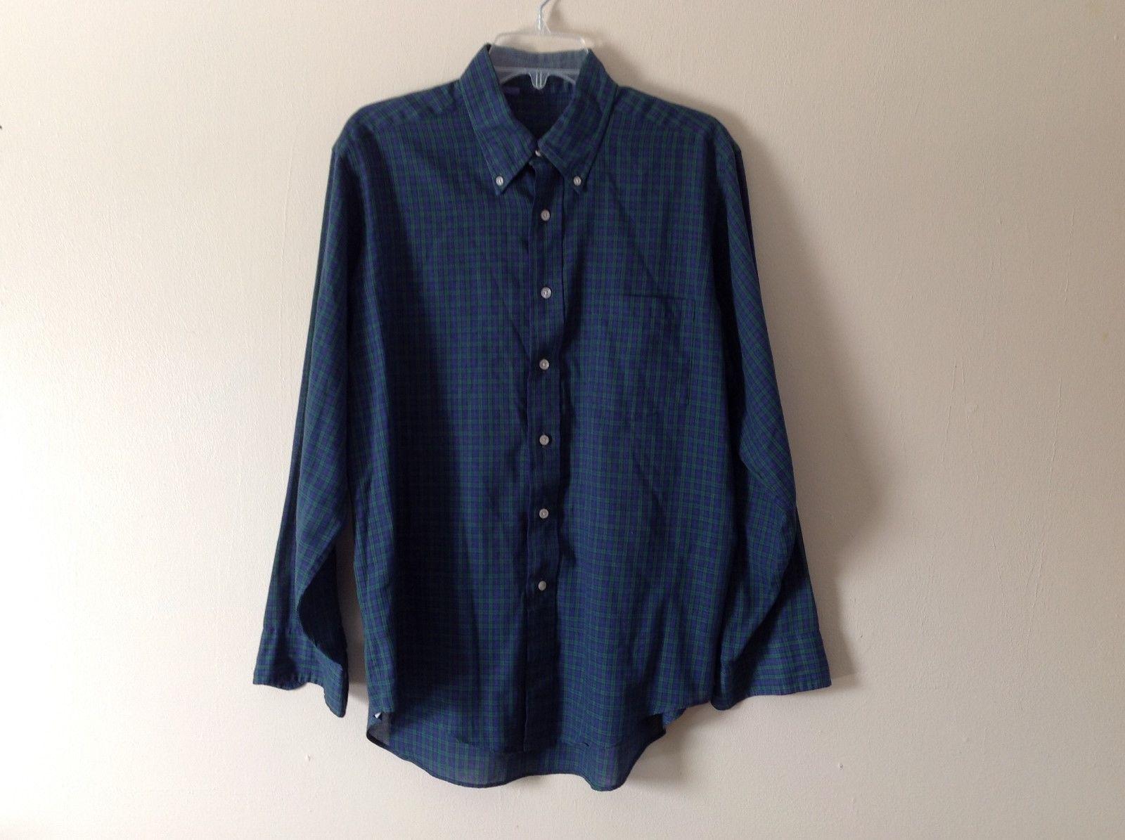 unisex plaid dress shirt blue & green