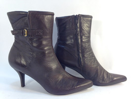 wonderful pair of NINE WEST brown satiny leather side zip city boots 8 - $31.63