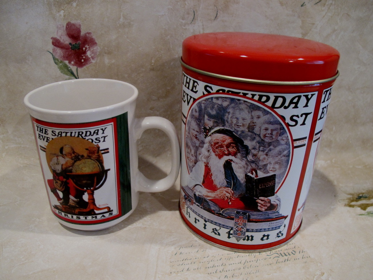 Vintage SATURDAY EVENING POST Tin with Coffee Mug Tea Cup Souvenir CHRISTMAS