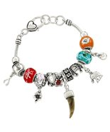 Lucky Charm Bracelet Z11 Red Blue Murano Beads ... - $24.63
