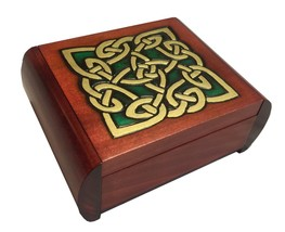 Celtic Knot Wooden Box Secret Opening Jewelry Keepsake Polish Handmade T... - $44.54