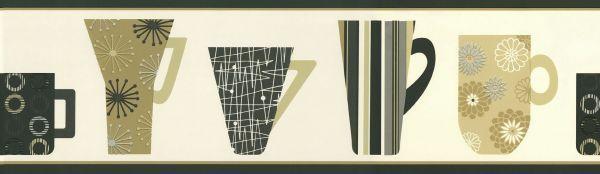 Retro Coffee Mugs in Brown Unpasted Wallpaper Border 5511070 - $11.28