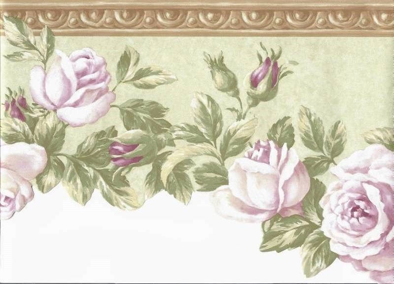 Soft Pink Roses On Green Wallpaper Border And 50 Similar Items