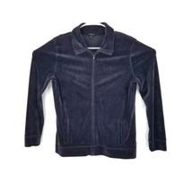Talbots Dark Blue Soft Velour L/S Zip Up Front Pockets Jacket Womens M - $16.78