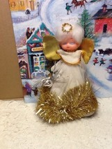 Vintage Angel Christmas Tree Topper Made Of Car... - $8.94