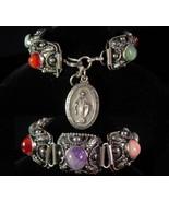Vintage Miraculous fob bracelet Amethyst semi precious gothic etruscan b... - $245.00