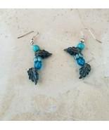 Beautiful Handmade Blue Tone Leaf Earrings NEW - $9.99