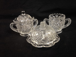 Higbee MADORA EAPG 3 Pc Toy Table Set Sugar, Spooner, Covered Butter Cir... - $26.00
