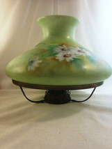 Hand Painted Vintage Lamp w Double Wick Shade RIng Overall Green w/ Flor... - $63.75