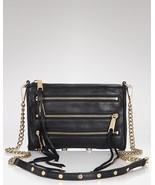 NWT Rebecca Minkoff MINI 5 Zip Clutch Crossbody Bag Black w/ Gold HW Aut... - $145.00