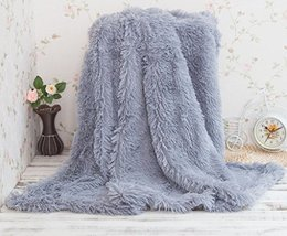 HUAHOO Super Soft Shaggy Chick Longfur Gray Throw Blanket for bed- Snugg... - $50.59 CAD