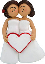 Women Female Same Sex Wedding Lesbian Personalized Christmas Ornament, 2... - $12.80