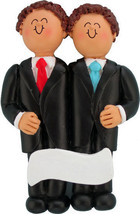 Male Men Same Sex Wedding Gay Personalized Christmas Ornament, 2 Grooms - $12.80