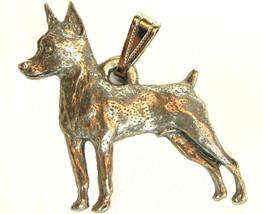 Miniature Pinscher Min Pin Pendant Dog Harris Fine Pewter Made in USA je... - $10.99