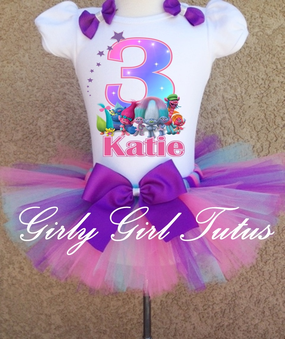 Trolls Birthday Tutu Outfit T Shirt Set Party Dress
