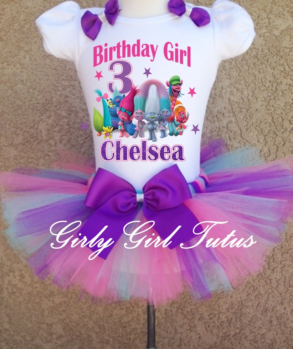 Trolls Birthday Personalized Tutu Outfit T Shirt Set Party