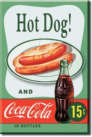 Refrigerator Magnet Hot Dog and Coca-Cola 15 cents
