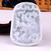 Certificat untreated  gradeA  Natural   Jadeite  jade dragon  pendant - $37.62