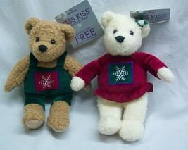 "Kissing HALLMARK KISS KISS MISTLETOE TEDDY BEARS 9"" Plush Stuffed Animal... - $19.80"