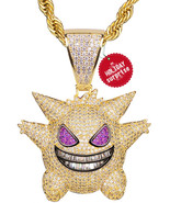 TSANLY Gengar Chain Necklace Pokemon Diamonds Necklace White Gold Plated... - $224.19