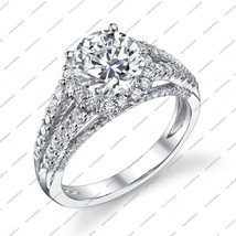 White Gold Plated Sterling Silver Women's Engagement Ring In Round Cut White CZ - $76.99