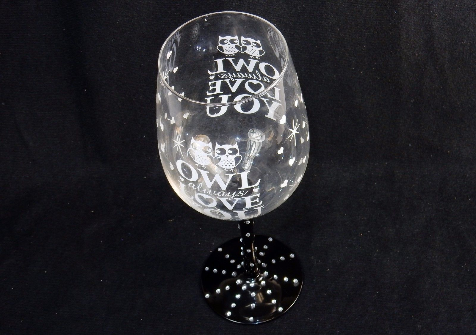 Valentine Wine Glass ~ Novelty Love Quotes Hand Painted On Glass w/Rhinestones