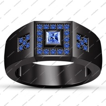 Blue Sapphire Princess Cut Black Rhodium Finish 925 Silver Engagement Band Ring - $112.99