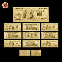 Lot Of 10PCS US $100 Banknotes 24k Gold Foil Plated American Dollar Bill... - $33.52