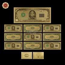 Lot/10pcs U.S Dollar Banknotes Colorized $1000 .999 Fine Gold Bill Uncir... - $29.31