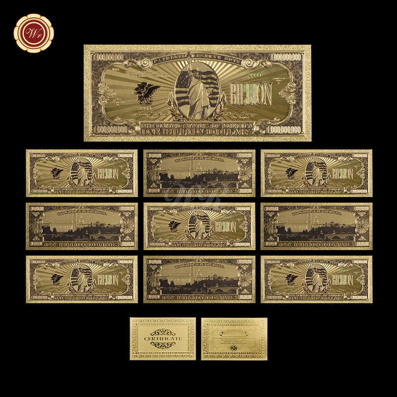 10pcs Big Value US America $1 Billion Dollar Banknotes 99.9 Gold Polyester Note