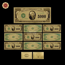 10pcs/Lot $5000 Dollar Note 24K Gold Foil US Banknote /w Certificate Col... - $37.73
