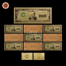 10pcs Colorized U.S Dollar Bills $100,000 24k Fine Gold Plated American ... - $37.73