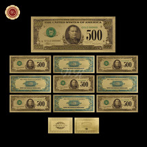 10pcs Colorized U.S Dollar Bill Notes $500 24k Gold Foil Banknote For Co... - $37.73
