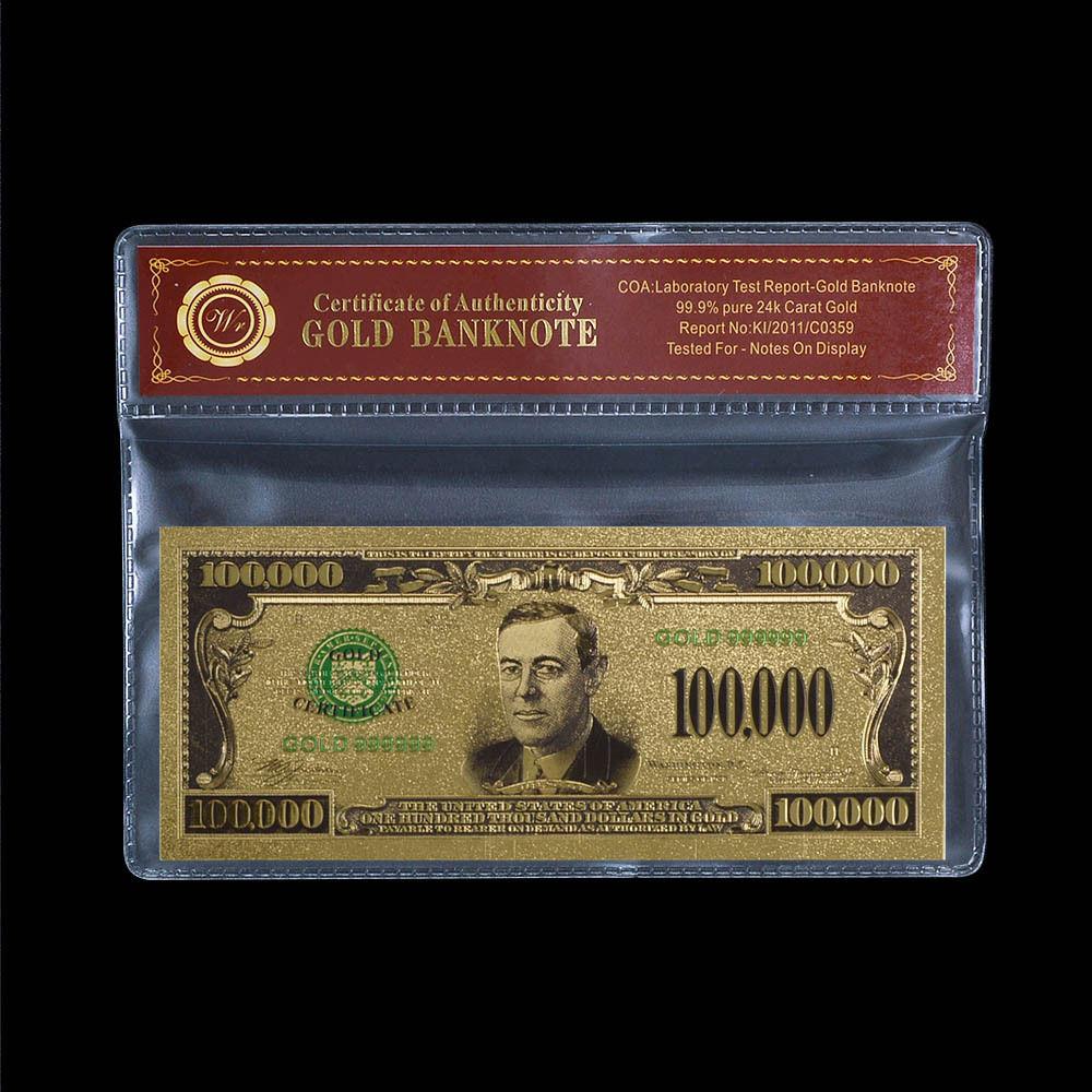5 US $2 Banknotes USD Gold Foil Old Edition Paper Money $2 Dollar Bills Five