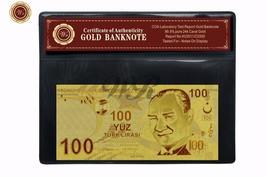 Gold Turkey 100 Lire Banknote Fine 999 24KT 3D Gold Note Free Certificat... - $5.00