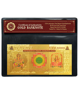 Mahalakshmi Wealth Attraction Note Special Colored 999 24k Gold India Ba... - $94,80 MXN