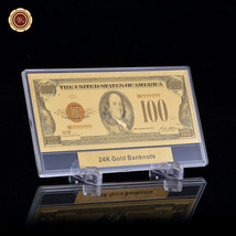 WR 1928 American Colour US $100 Dollar Banknote 24k Gold Plated w/ Frame... - $11.17
