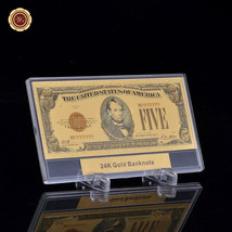 WR Note 1928 American USD $5 Colored Dollar 24k Gold Banknote w/ Frame &... - $11.17