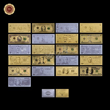 US Dollar Banknote Gold/Silver/Colored 24Kt Fine Collectable Bill 3 Sets... - $52.87