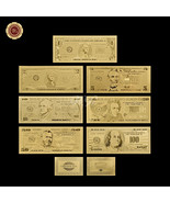US Dollar Banknote Set Of 7 PCS Plated With 24k Gold USD 1/2/5/10/20/50/... - $23.42